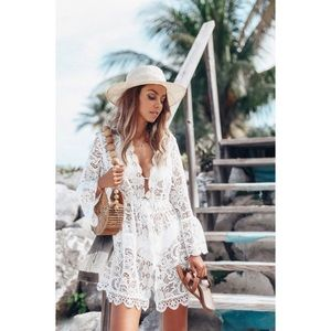 92f03a5ca3 Too Posh Boutique Swim - POSH WHITE FLORAL LACE COVER UP LONG BELL SLEEVE